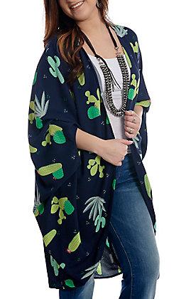 Ariat Women's Navy Prickly Cactus Print Kimono