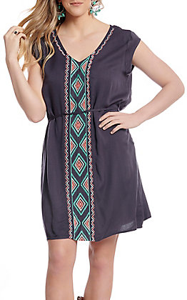 Ariat Women's Grey With Turquoise and Pink Aztec Embroidery Short Sleeve Dress