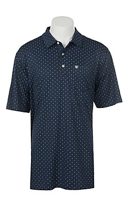 Ariat Men's Navy Print Heat Series Tek Polo Shirt