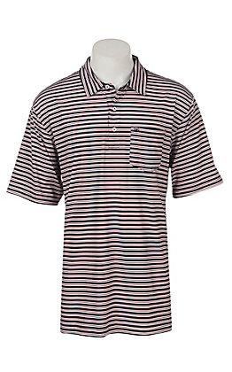 Ariat Men's Spry Navy Stripe Heat Series Tek Polo Shirt