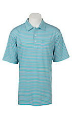 Ariat Men's Spry TUrquoise Reef Striped Heat Series Tek Polo Shirt
