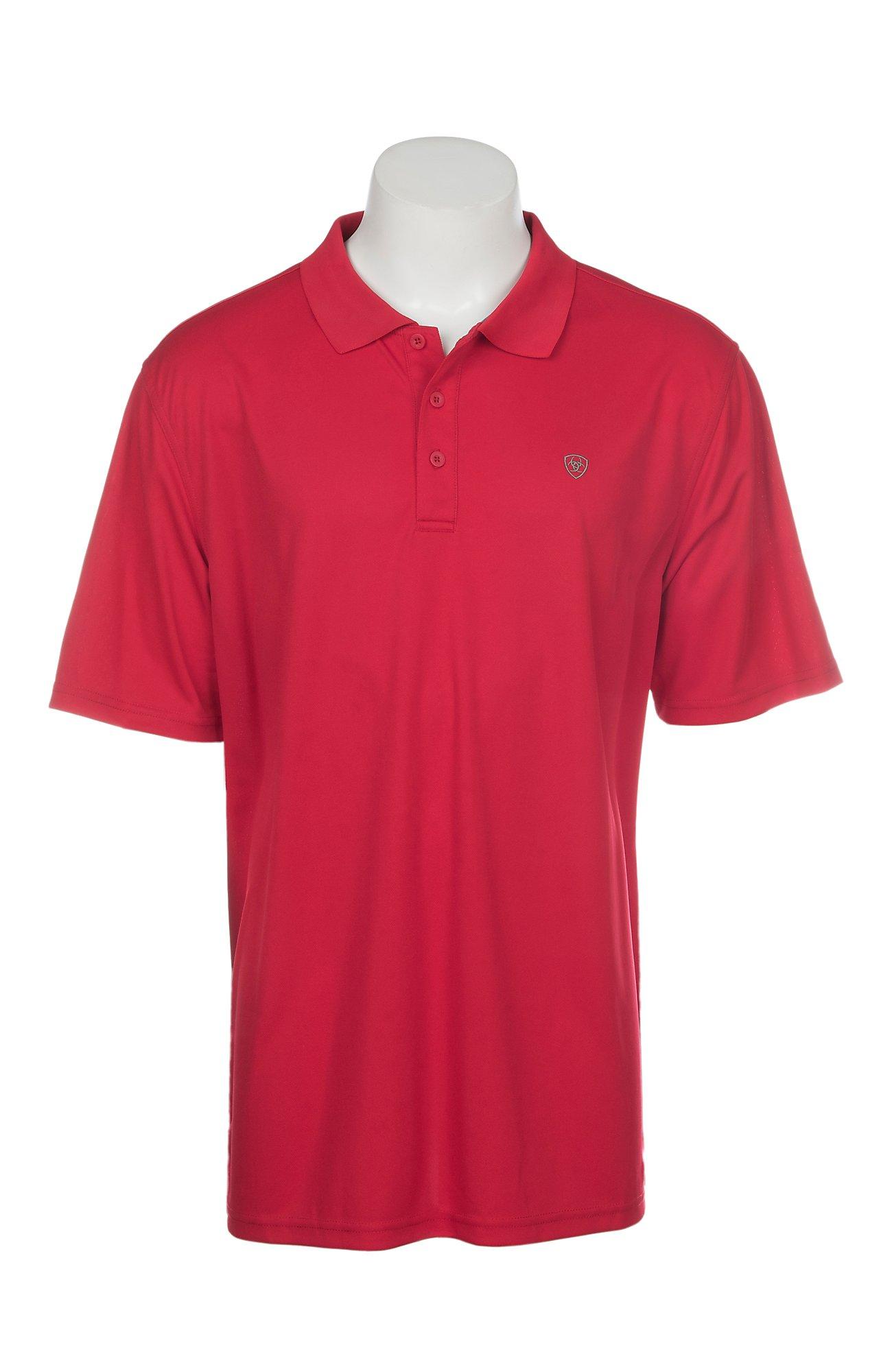 Ariat Mens Crimson Flame Heat Series Tek Polo Shirt Cavenders