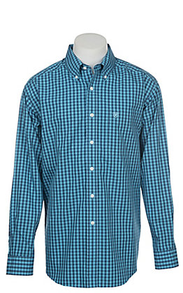 Ariat Men's Wrinkle Free Kacin Coast Azure Print Long Sleeve Western Shirt