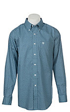 Ariat Men's Wrinkle Free Royal Blue Kampsen Print Long Sleeve Western Shirt