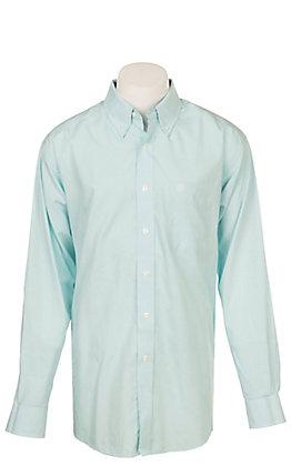 Ariat Men's Wrinkle Free Solid Light Blue Pintpoint Oxford Long Sleeve Western Shirt