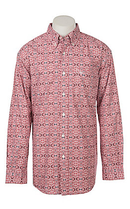 Ariat Men's White and Red Gardella Print Long Sleeve Western Shirt
