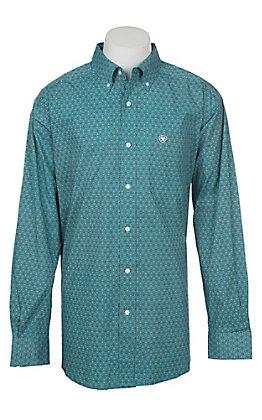 Ariat Men's Stretch Caidan Blue Bird Geo Print L/S Western Shirt