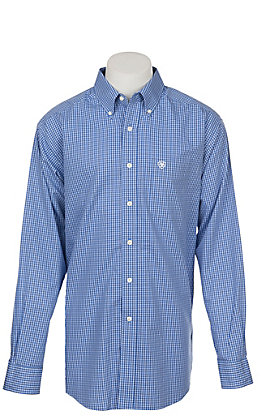 Ariat Men's Wrinkle Free Blue Laderman Amparo Print Long Sleeve Western Shirt