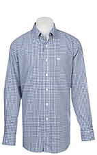 Ariat Men's Wrinkle Free Blue and White Laker Checkered Long Sleeve Western Shirt