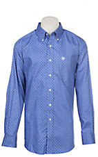 Ariat Men's Wrinkle Free Blue Landgrigan Print Long Sleeve Western Shirt