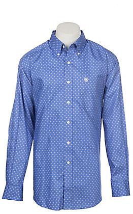 Ariat Men's Wrinkle Free Blue Landgrigan Print Long Sleeve Western Shirt