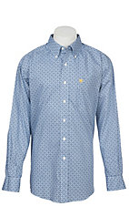 Ariat Men's Wrinkle Free Blue and White Lankton Print Long Sleeve Western Shirt
