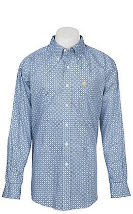 Ariat Men's Wrinkle Free Blue and White Lankton Print Long Sleeve Western Shirt