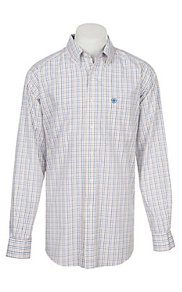 Ariat Men's Wrinkle Free White Ludow Print Long Sleeve Western Shirt