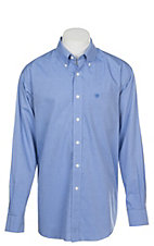 Ariat Men's Wrinkle Free Solid Blue PintPoint Oxford Long Sleeve Western Shirt