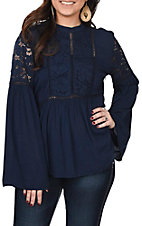 Ariat Women's Navy Blue Nita Bell Sleeve Fashion Top
