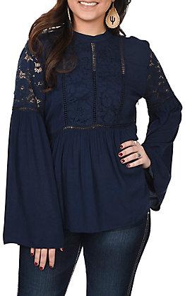 Ariat Women's Navy Blue Nita Bell Sleeve Fashion Top
