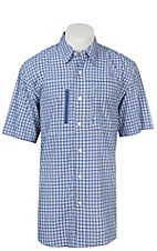 Ariat Men's True Blue Plaid Venttek Button Up Short Sleeve Shirt