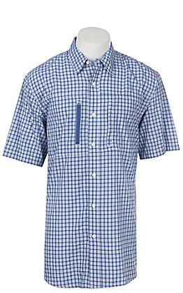 Ariat Men's True Blue Plaid Venttek Button Up Short Sleeve Shirt