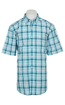 Ariat Pro Series Falker White Plaid Short Sleeve Western Shirt