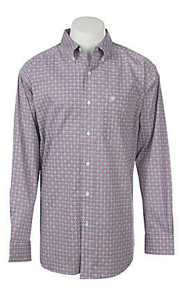 Ariat Men's Stretch Black and Pink Fey Print L/S Western Shirt