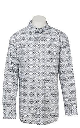 Ariat Men's Frasier White Print Long Sleeve Western Shirt