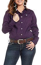 Ariat Women's REAL Kirby Solid Purple Stretch Long Sleeve Western Shirt