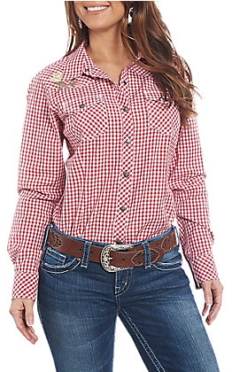 Ariat Women's REAL Red Gingham Long Sleeve Western Shirt