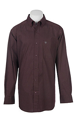Ariat Men's Cavender's Exclusive Stretch Albarado Malbec Print L/S Western Shirt - Big & Tall