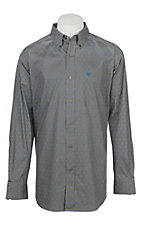 Ariat Men's Cavender's Exclusive Angwin Jetty Grey Stretch Print Long Sleeve Western Shirt - Big & Tall