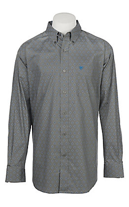 Ariat Men's Cavender's Exclusive Angwin Jetty Grey Stretch Print Long Sleeve Western Shirt