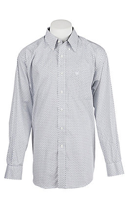 Ariat Men's Cavender's Exclusive Wrinkle Free Zilverton White Print Long Sleeve Western Shirt
