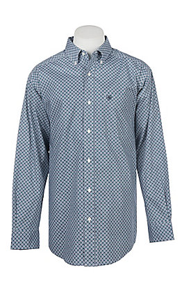 Ariat Men's Cavender's Exclusive Stretch Burton Blue Print L/S Western Shirt