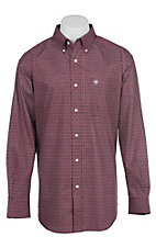 Ariat Men's Cavender's Exclusive Caidan Garnet Stretch Print Long Sleeve Western Shirt