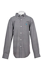 Ariat Boys Cavender's Exclusive Coffee Mitch Stretch Print Long Sleeve Western Shirt