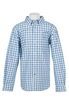 Ariat Boys Pro Series Blue and White Vlaid Long Sleeve Western Shirt