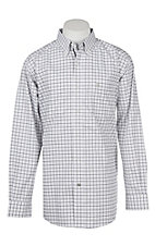 Ariat Pro Series Men's Cavender's Exclusive Chapman White and Black Plaid Print L/S Western Shirt