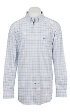 Ariat Pro Series Men's Cavender's Exclusive Irby White and Black  Plaid Print L/S Western Shirt