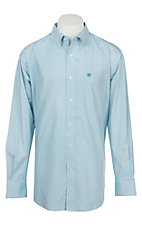 Ariat Men's Cavender's Exclusive Lucky White and Turquoise Stretch Print Long Sleeve Western Shirt