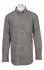 Ariat Men's Cavender's Exclusive Coffee Mitch Stretch Print Long Sleeve Western Shirt
