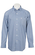 Ariat Men's Cavender's Exclusive Zilverton Blue Stretch Print Long Sleeve Western Shirt