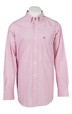 Ariat Men's Cavender's Exclusive Stretch White and Pink Print L/S Western Shirt
