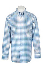 Ariat Men's Pro Series Blue and White Vlaid Long Sleeve Western Shirt