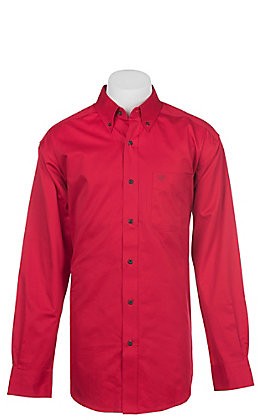 Ariat Men's Cavender's Exclusive Ruby Scarlet Solid Twill Western Shirt