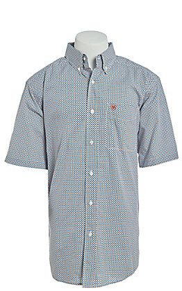 Ariat Men's Blue & Yellow Multi Print Short Sleeve Western Shirt