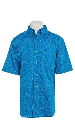 Ariat Men's Stretch Turquoise Print Short Sleeve Western Shirt