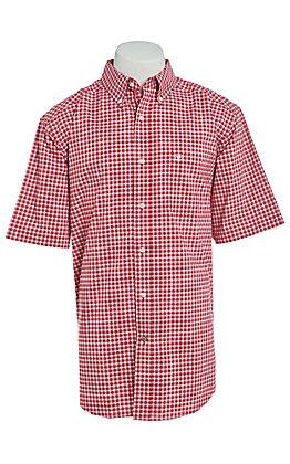 Ariat Men's Red & White Plaid Short Sleeve Western Shirt