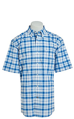 Ariat Pro Series Men's Obarra Blue Plaid Short Sleeve Western Shirt