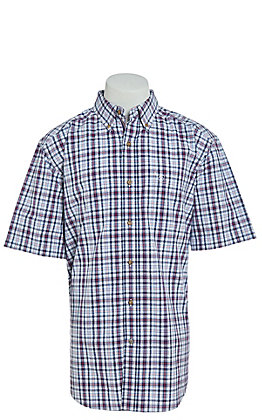 Ariat Men's Navy Red & White Plaid Short Sleeve Western Shirt