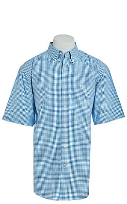 Ariat Pro Series Men's Oborne Crystal Blue Plaid Short Sleeve Western Shirt